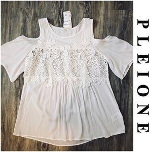 Pleione Cold Shoulder Blouse White Top Lace Small
